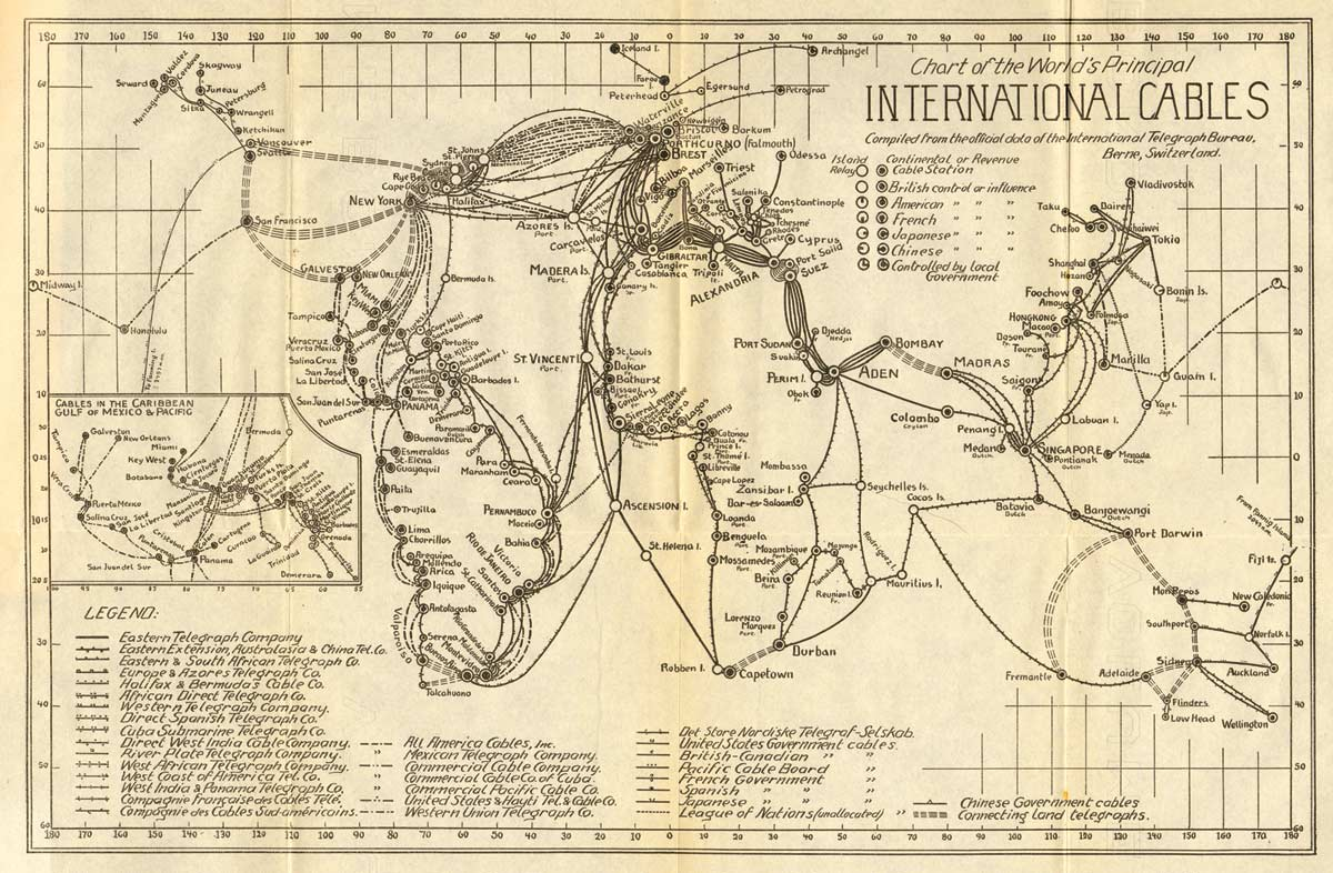 Old International Cables Map Year 1924