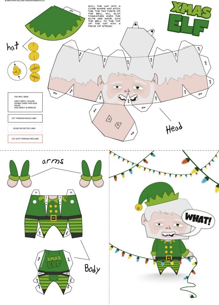 925 xmas elf paper craft 734x1024