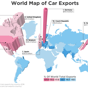World Map of Car Exports 2016 300x300